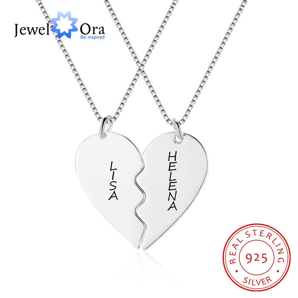 Merged Heart-Shaped Design Personalized Engrave Name Necklace 925 Sterling Silver Necklaces & Pendants 2Pcs (JewelOra NE102384)Merged Heart-Shaped Design Personalized Engrave Name Necklace 925 Sterling Silver Necklaces & Pendants 2Pcs (JewelOra NE102384)