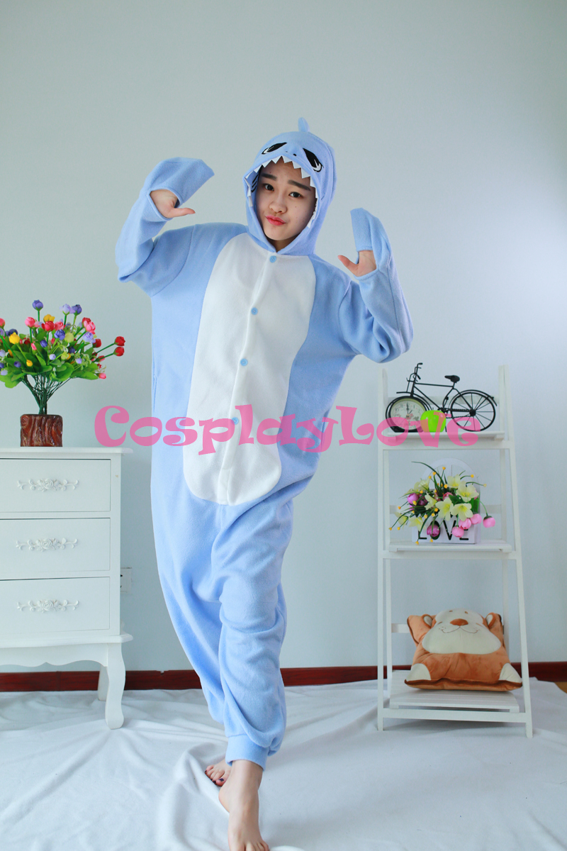 Light Blue Shark Pajamas Animal Cosplay Costume Kid Adult Pajamas Onesies Cartoon Sleepwear Sleepsuit
