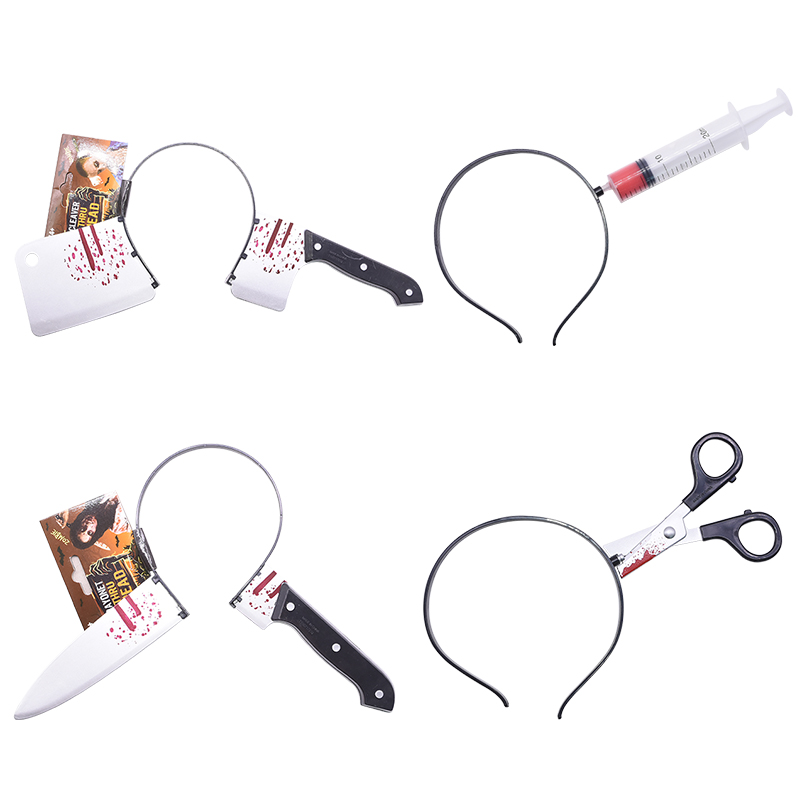 1pc Horror Headband Prank Through Head Knife Injector Scissors Trick Magic Props for April Fool Day Halloween Party Toy Fun Toys