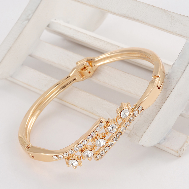 full crystal rhinestone flower gold color bangle bracelets wedding women bridal jewelry mom gifts
