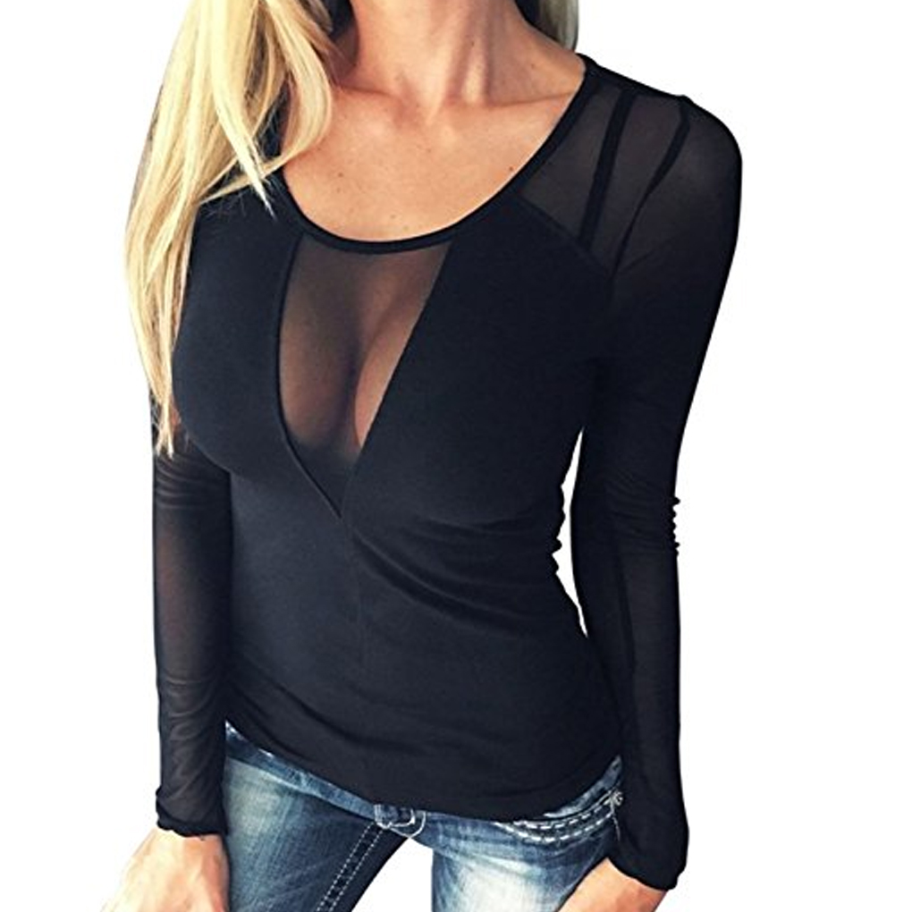 Women Sexy Mesh Sheer Patchwork Neck Clubwear Top Blouse Pure Color Long Sleeve Tops Shirts