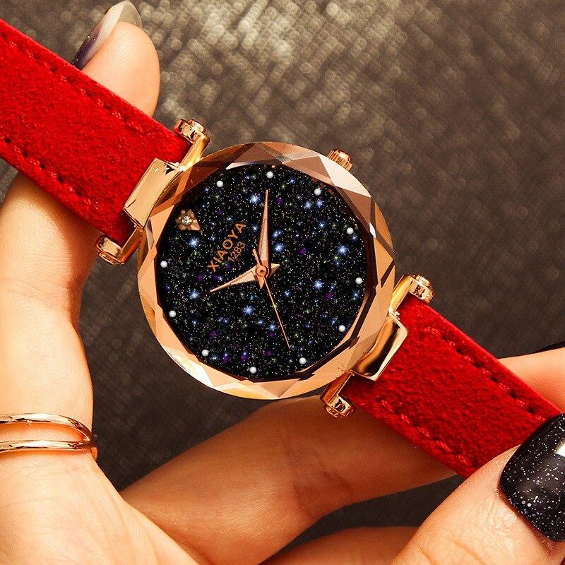 Relogio Feminino 2018 Watches Women Top Luxury Brand Rhinestone Dress Watch Leather Strap Starry SKY Golden Quartz Watch Female women watches
