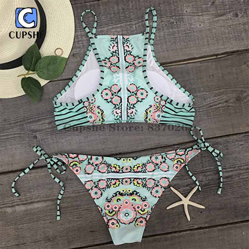 8bb39a1dda Cupshe Dreaming State Garden Bikini Set Women Summer Sexy Swimsuit Ladies  Beach Bathing Suit swimwear-in Bikinis Set from Sports & Entertainment on  ...
