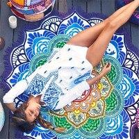 Tassel Indian Mandala Tapestry Lotus Printed Bohemian Beach Towel Wall Hanging Tapestry Yoga Mat Blanket Bikini Cover Up 30
