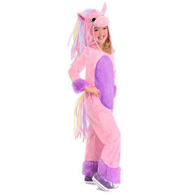Милый мягкий плюшевый Радуга костюм пони детская пони костюм на Хэллоуин  для девочек розовый лошадь животных 7736aabed5feb