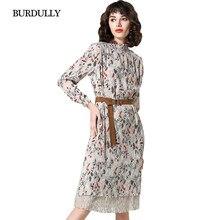 3ee2c80a639 BURDULLY Korean Women Dress 2018 Spring Vintage Long Sleeve Printed Dress  Vestidos Loose Dresses Floral Print robe femme grande