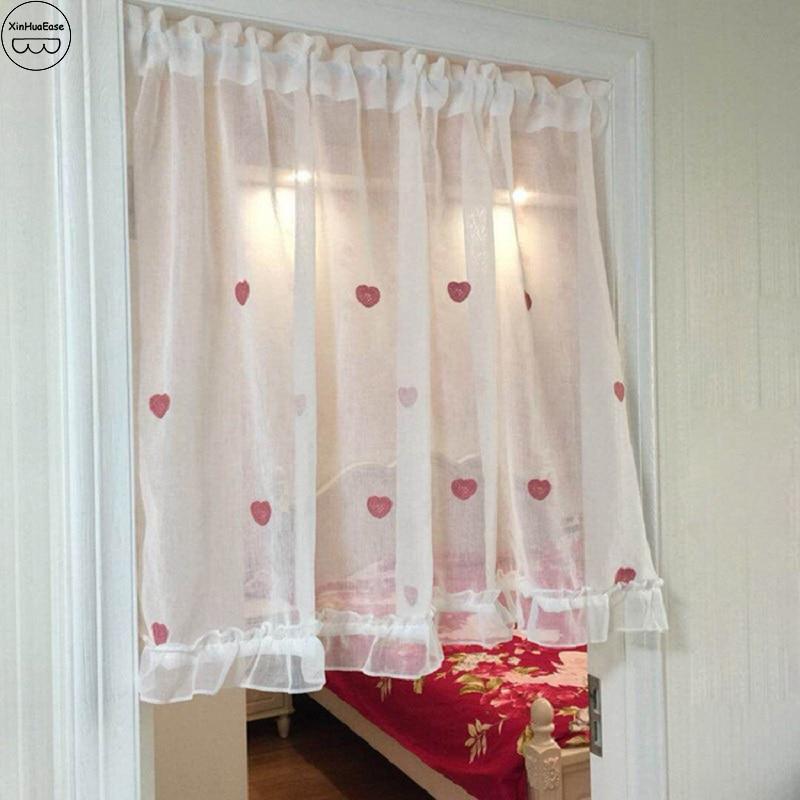 XinHuaEase White Sheer Half Curtain House Drapes Window
