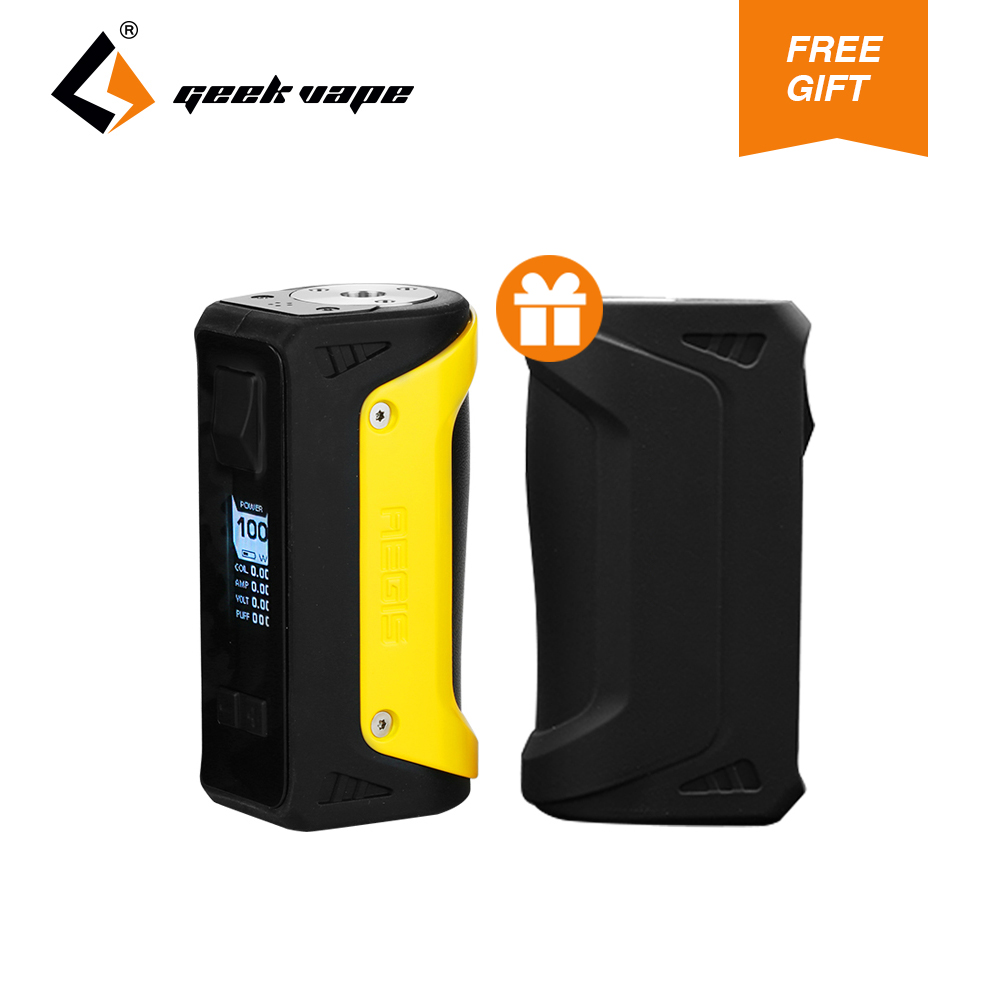 2018 New GeekVape Aegis Box MOD 100W with gift Silicone Case 18650/26650 Battery for E Cig Atomizer no Battery authentic 215w ijoy limitless lux dual 26650 battery 8400mah big capacity mod e cig fit limitless rdta plus limitless lux