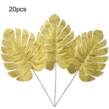 20pcs Artificial Golden Palm Fronds Tropical Turtle Leaves for Wedding Party Decoration Medium Leaf Flower