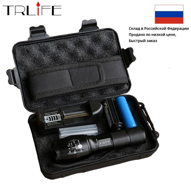 RU warehouse 10000Lums LED Flashlight L2 Powerful tactical Linterna Led Flashlights Torch 18650 battery+Charger+Gift box