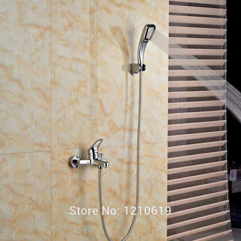 Newly Wall Mount Shower Tub Faucet w/ Handheld Sprayer Chrome Bathtub Mixer Faucet Tap One Handle china sanitary ware chrome wall mount thermostatic water tap water saver thermostatic shower faucet