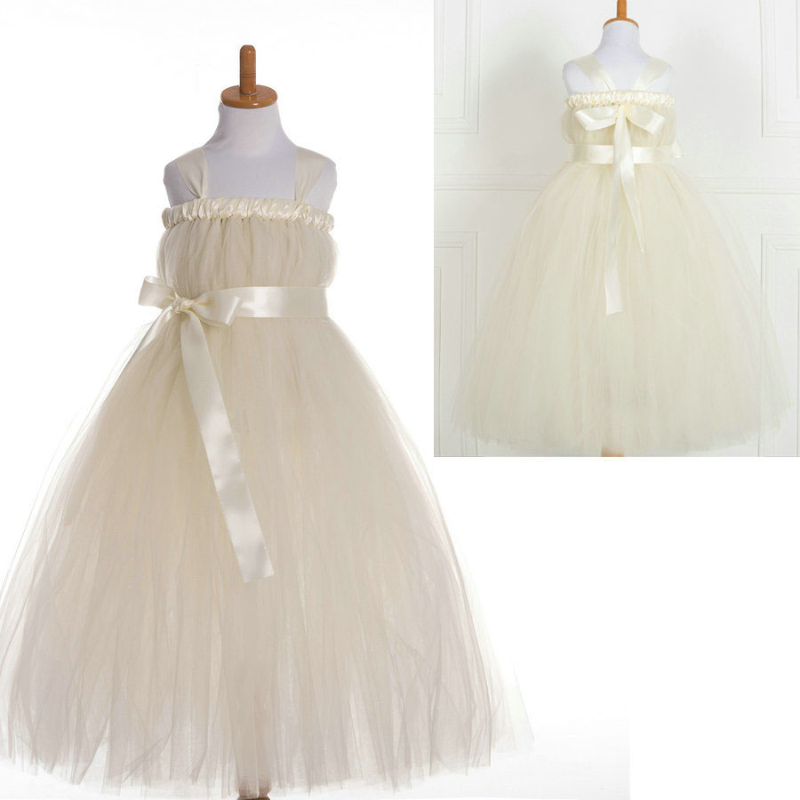 New 2017 kids bridesmaid wedding dress fluffy girls tulle ball gowns for children flower girl dress ivory hot pink lavender the unknown bridesmaid