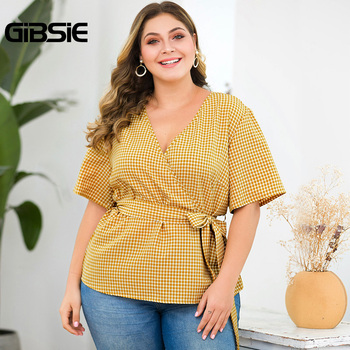 GIBSIE Plus Size Elegant Wrap V-Neck Plaid Shirt Top With Belt Women Short Sleeve Clothing Female Big Size OL Summer Blouse