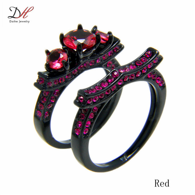 Pink Purple Rose Red Aaa Cubic Zirconia Women S Black Wedding Ring Set Engagement
