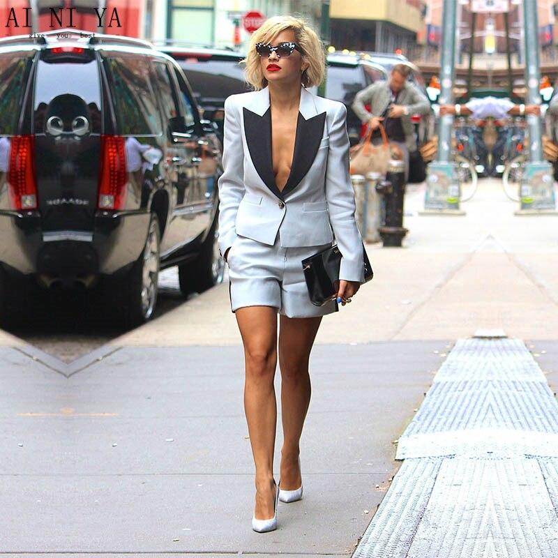 24-1 NEW Summer 2 piece set women elegant short pant suits womens business suits female trouser suits ladies office uniform suit