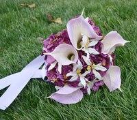 Künstliche blume hochzeit blumen hält blumen bouquet chromophous orchidee calla lily schneeball
