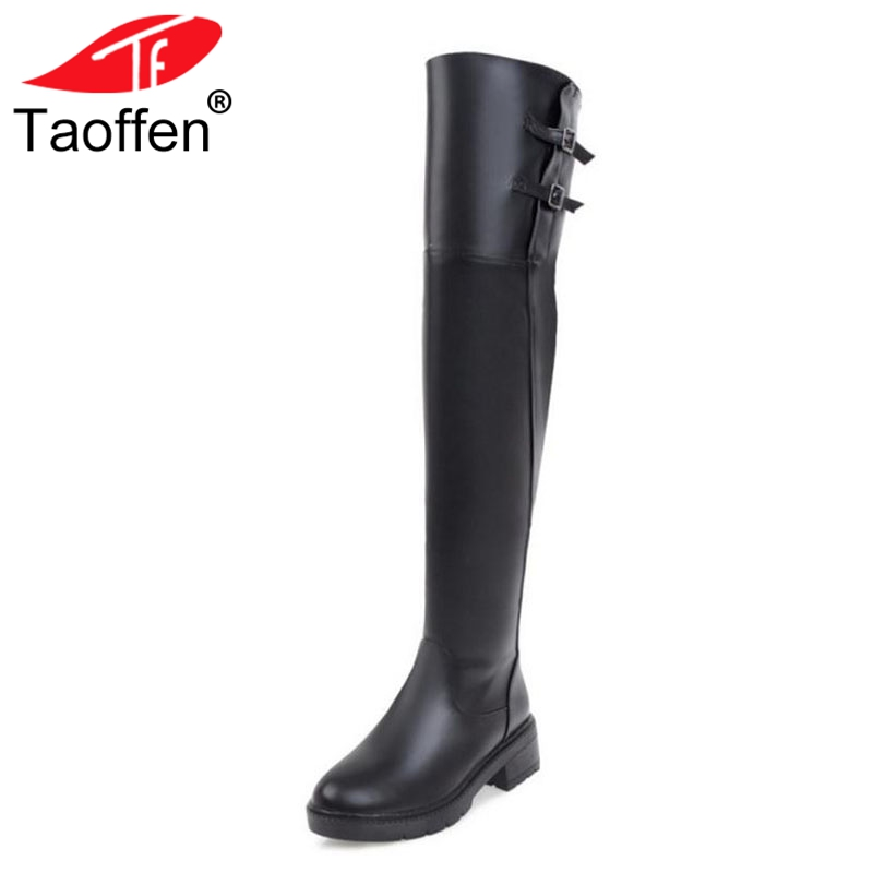 Taoffen Women Over Knee Boots Buckle Warm Motorcycle Shoes Women High Heels Boots Fashion Punk Thick Heel Shoes Size 34-43