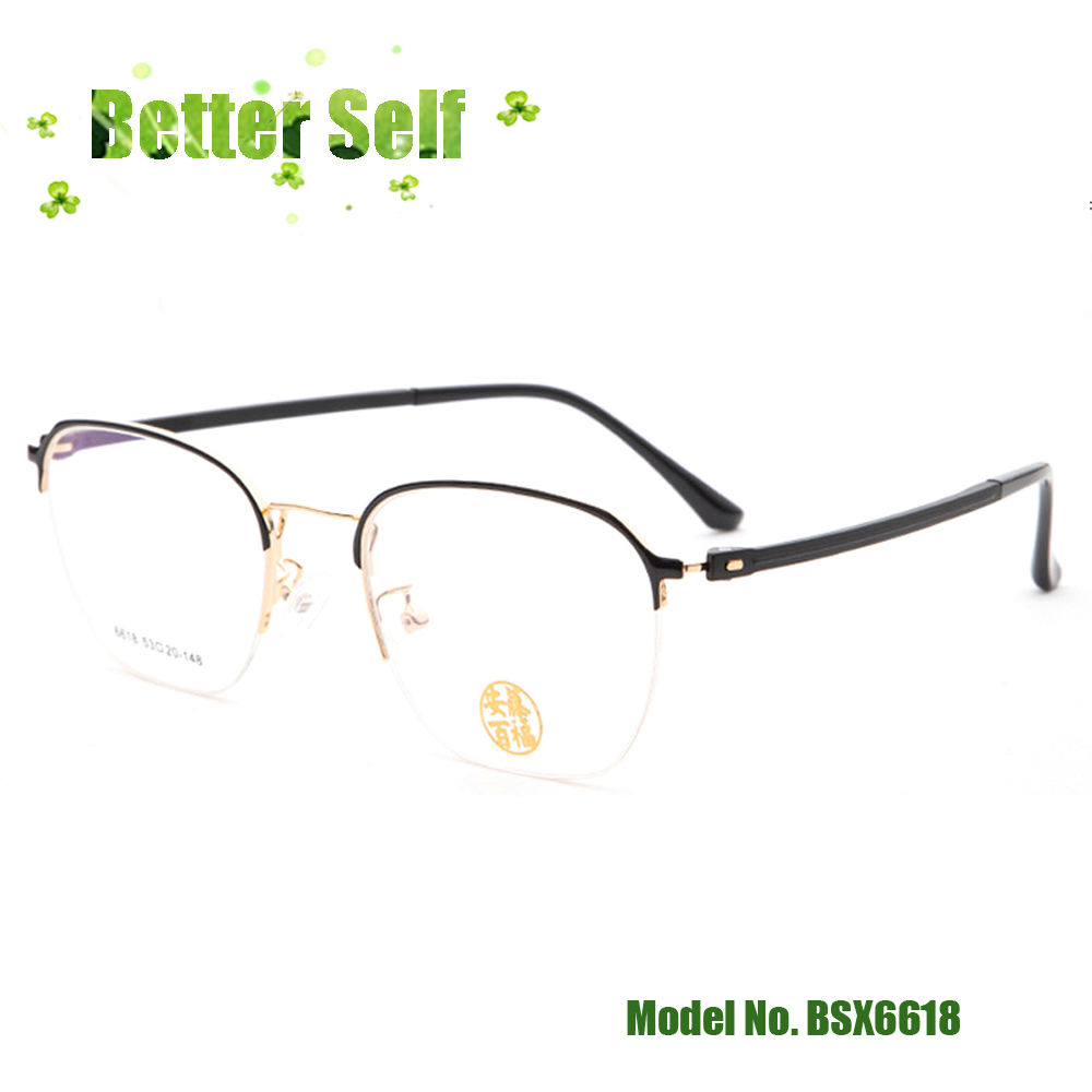 Quality Retro Glasses Eyebrow Eyeglasses Metal Optical Frames BSX6618 Can Do Prescription Lens Men Women Business Spectacles in Men 39 s Eyewear Frames from Apparel Accessories