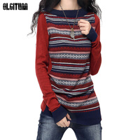 Female Clothes2016 Autumn Winter Sweater Women O Neck Long Sleeved Cashmere Blend Striped Knitted Pullover