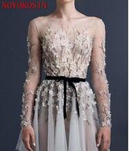Платье А силуэта для выпускного вечера платья с длинным рукавом