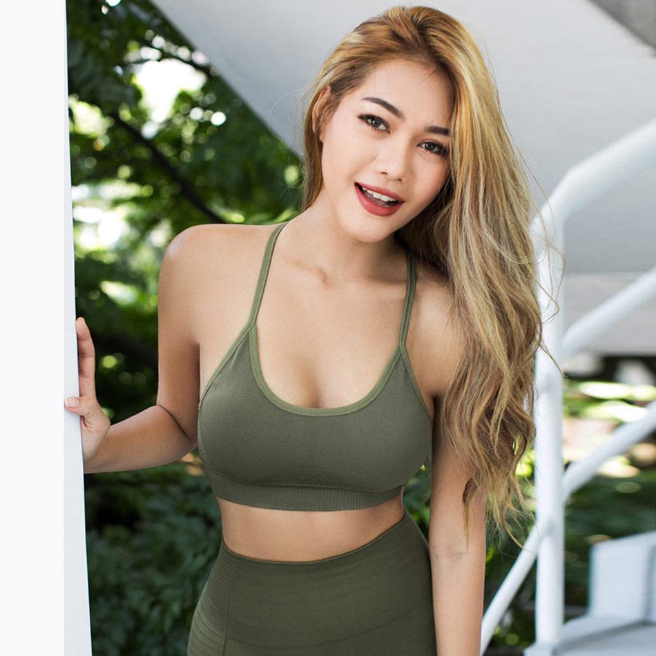 4e58da85e4bbe Aliexpress.com   Buy Energy Seamless sports bra backless strappy gym bra  push up padded yoga bra fitness gym crop top army green sports underwear  from ...