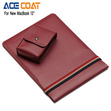 Brand ACECOAT Microfiber PU Laptop Liner Sleeve Case For New MacBook 12″ Brown Blue Red free gift Charger storage bag