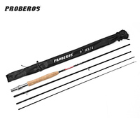 Proberos Fishing Rod 2.7M 4 Section Carbon Fly Fishing Rod with Soft Cork Handle Fish Tackle With For Lake Ocean Scream Fishing