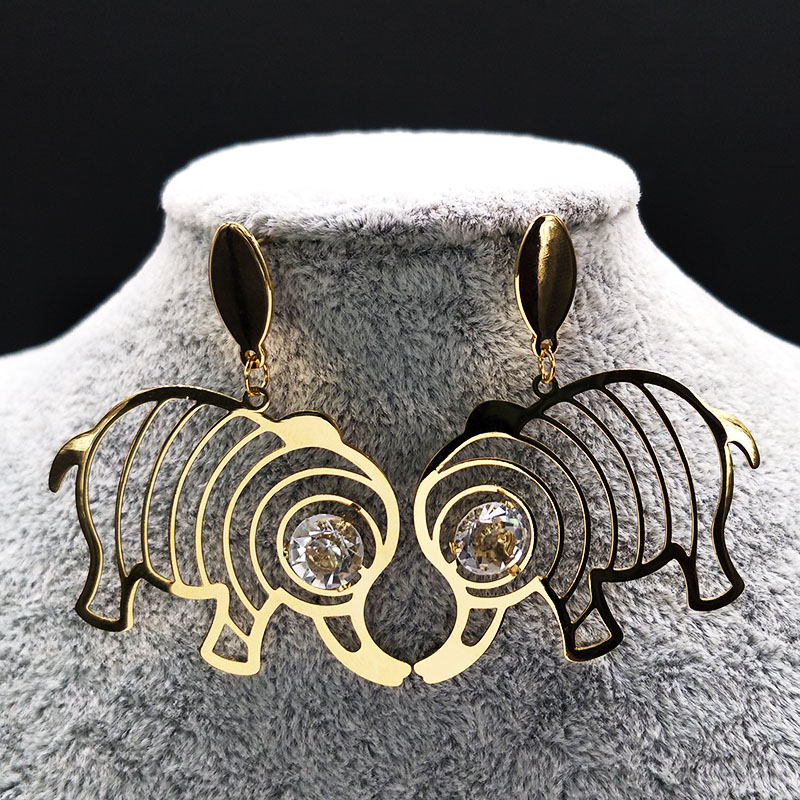 2017 New Cute Stainless Steel Elephant Earrings Women Jewelry Gold Color Ear Rings Fashion Jewelry boucle d oreille E612303