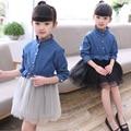 2017 NUEVOS resorte de Los Niños niños de manga larga deam pantalones vaqueros vestido de encaje para vestidos de las muchachas Vestidos 3 4 5 6 7 8 9 10 años de edad