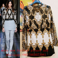 2017 New Embroidery Beaded Mesh Outfit Sexy Celebrity Runway Winter Handmade Embroidery Outfit Baroque Vintage Tassels Top Shirt