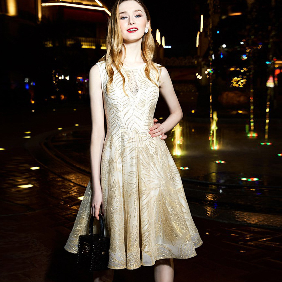 Robe   cocktail   2019 new Scoop collar lace sequins golden   cocktail     dress   knee length prom   dresses   pretty vestido coctel