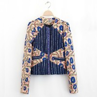 2014 Autumn And Winter New Women Fashion Embroidery Print Thin Cotton Coat Female Short Slim Casual