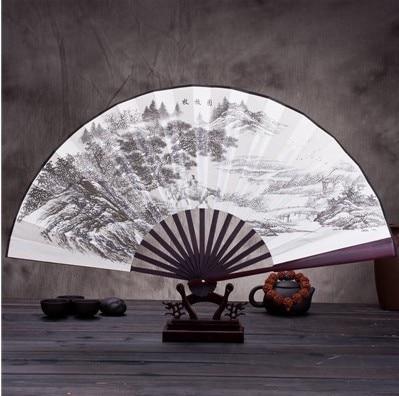 """1"""" украшенный Шелковый складной Ручной Веер человек большой бамбуковый китайский Печатный веер из ткани традиционное ремесло свадебные сувениры веер - Цвет: Pastoral map"""