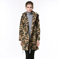 2016 unisex Korean style comfortable spring women trench coats Removable collar camouflage long parka