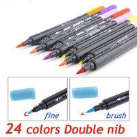 Книги по искусству графический Рисунок манга AQUARELLE акварельные чернила Twin Tip Brushand тонкой перо фломастер для скетчей 12 18 24 цвета Комплект Кис...