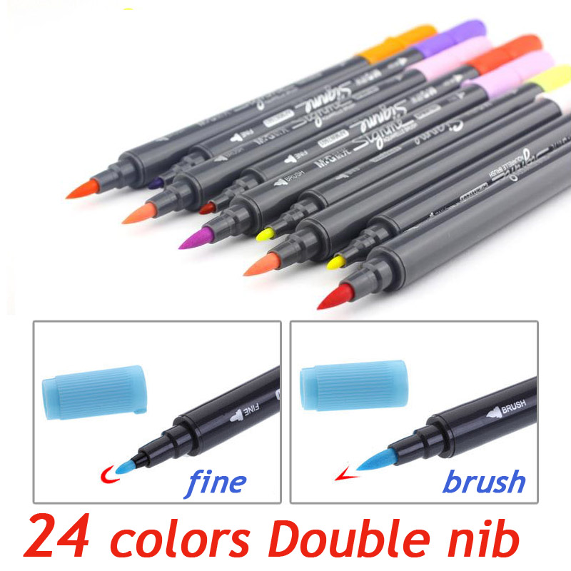 Art Graphic Drawing Manga AQUARELLE watercolour Ink Twin Tip Brushand Fine nib Sketch Marker Pen 12 18 24 Colors  SET Brush Pen