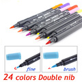 Art and Graphic Drawing Manga Water Based Ink Twin Tip Brushand Fine Tip Sketch Marker Pen 12 18 24 Colors /SET Brush Pen