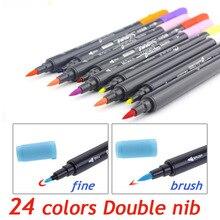 Kunst und Grafik Zeichnung Manga Tinte Auf Wasserbasis Twin Tip Brushand feine Spitze Skizze Marker Stift 12 18 24 Farben/SET Pinsel stift