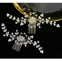 ASNORA Bride elegant wedding hair comb crystal rhinestone pearl female hairpin bridal tiara hair accessories