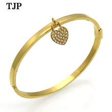Classic fashion titanium steel rose gold color simple love heart  pendant female bracelet women accessories