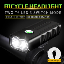 1000LM 2*T6 LED Front Bike Headlight USB Rechargeable Bicycle Light 3 Modes MTB Cycling Lamp Built-in Battery Flashlight wosawe usb rechargeable bicycle flashlight 2400 lumens with built in li batteries bike light 2 xml 3 led lamp bike light 5 modes