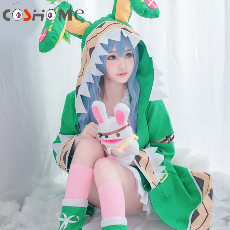 Coshome Date Live Yoshino Cosplay Costumes W Green Hooded Women Girls Coat Halloween Costumes With Socks