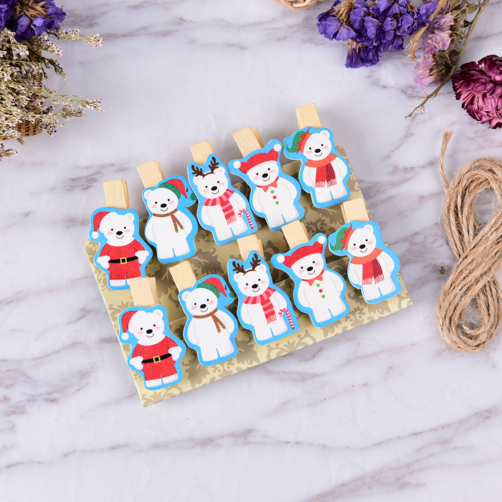 10pcs Cute Christmas Bear Wooden Clip Photo Paper Clothespin Clips With Hemp Rope