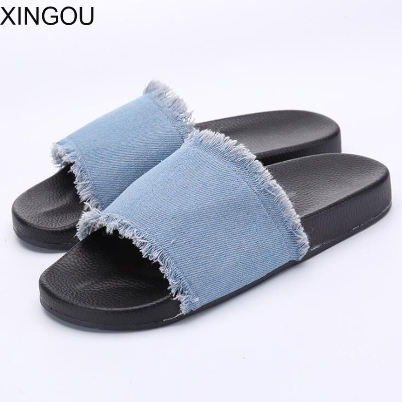 8d2ee0f835f Fashion women s slippers denim summer slippers ladies indoor home sandals  Thick bottom comfortable flat bottom Slides
