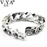 Men Jewelry 100 Real Pure 925 Sterling Silver Bracelet Men Jewelry Genuine Skeleton Man Bracelets Free