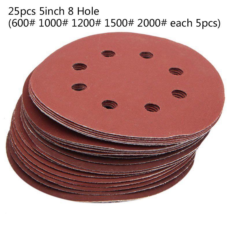 Grinding 8 Hole Sander 25x Set 125mm 5 Inch Sanding Discs 5