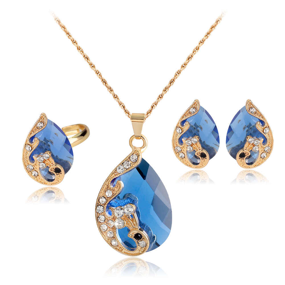 jiayijiaduo High grade 5 colour crystal peacock bride wedding gold-color necklace earrings ring jewelry set parure bijoux femme