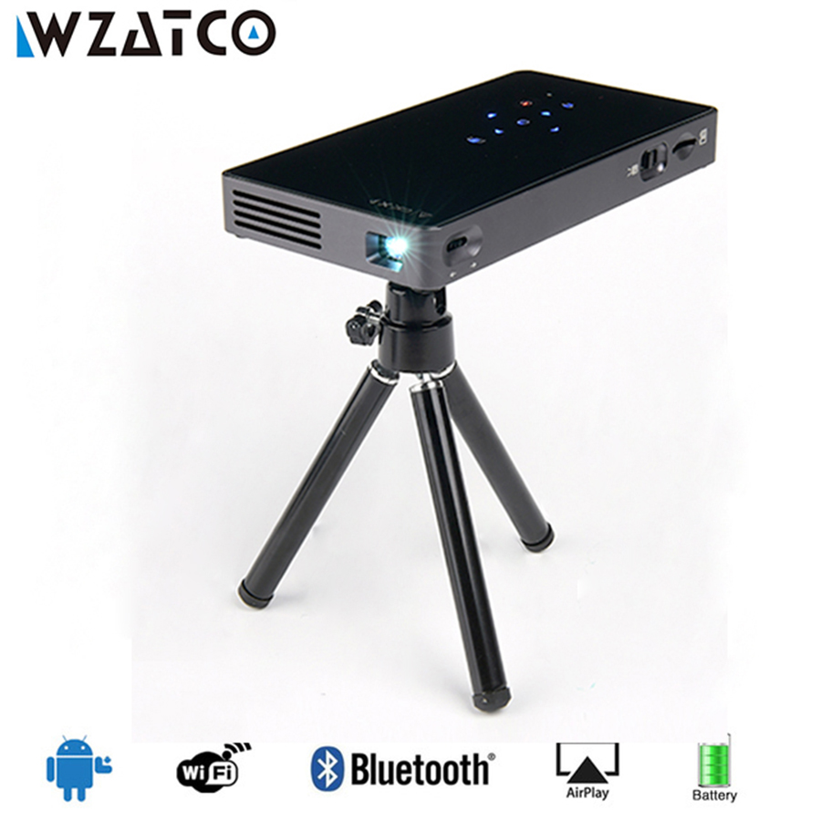 WZATCO CT50S Mini Led Projector Portable Smart WIFI Pocket Projector Android 4.4 /7.1 HDMI USB SD Home Theater Beamer Proyector cheap china digital 1000lumens hdmi usb home theater best hd 1080p portable pico lcd led video mini projector beamer proyector