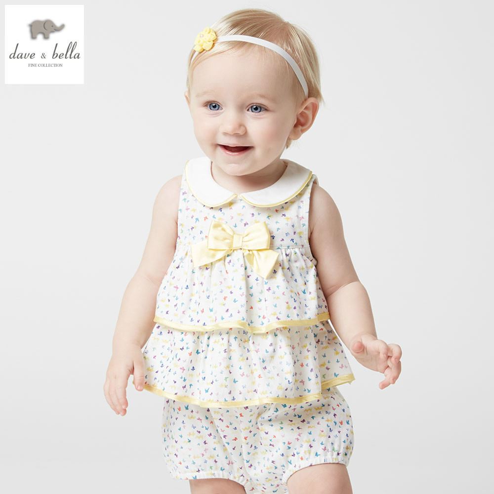 DB4936 dave bella summer new born baby girls cotton butterfly printed romper infant clothes girls romper baby 1 piece db5033 dave bella summer new born baby unisex rompers cotton infant romper kids lovely 1 pc children romper