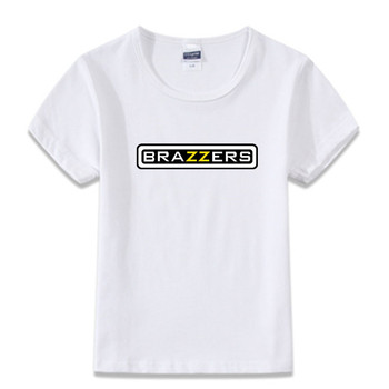 Children Funny Brazzers Printing T-shirts Kids Summer White Printing T shirts 2017 Girl and Boy Brazzers Funny Tops Tee,HKP001